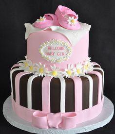daisy baby shower cake
