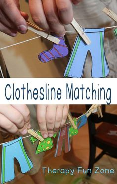 Therapy Fun Zone: Clothesline Matching. Fun fine motor exercise! Pinned by SOS Inc. Resources. Follow all our boards at pinterest.com/sostherapy/ for therapy resources.