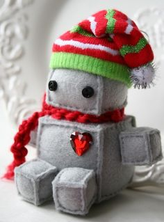 Itty Bitty Christmas Robot by Littlebrownbyrd on Etsy
