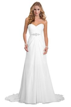 $79 affordable Dreambridal Simple A Line Chiffon Bride Wedding Dress