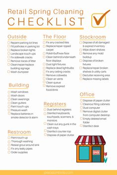 Retail Store Daily Checklist Elegant Ultimate Retail Spring Cleaning Checklist – Omega Products You are in the right place about spring cleaning sale Here we offer you the most beautiful pictures abou Cleaning Schedule Templates, Checklist Template, Daily Checklist, Spring Cleaning Checklist, Cleaning Quotes, Cleaning Hacks, Cleaning Products, Restaurant Cleaning, Some Text