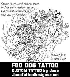 foo dog tattoo template by juno tattoo design