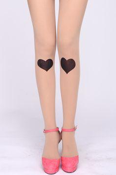 Black Heart Print Nude Tights
