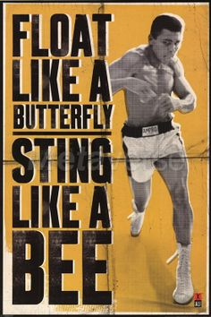 Float like a butterfly sting like a bee.  ~Muhammad Ali