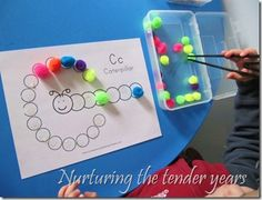 fine motor activity-love all things Montessori! Motor Skills Activities, Alphabet Activities, Educational Activities, Fine Motor Skills, Toddler Activities, Learning Activities, Preschool Activities, Pre Writing, Chenille