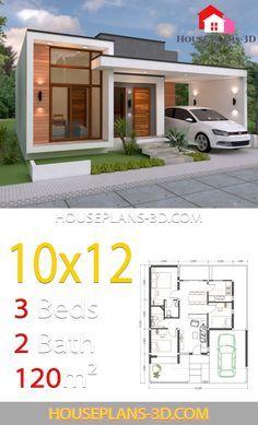 House Design 10x12 With 3 Bedrooms Terrace Roof House Plans 3d Di 2020 Arsitektur Rumah Denah Rumah Rumah Pedesaan