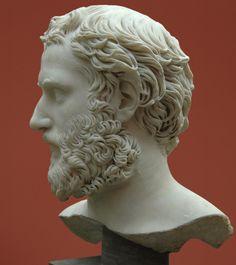 Man - profile, head of Roman sculpture (marble), 2nd century AD, (Ny Carslberg Glyptotek, Copenhagen).