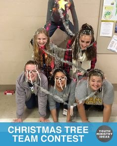 "Christmas Tree Team Contest – Half the team has to make a pyramid or some ""t… - youth game Youth Ministry Games, Youth Group Activities, Ministry Ideas, Church Ministry, Church Activities, Church Games, Kids Church, Ugly Christmas Shirts, Christmas Party Games"