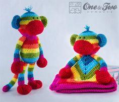 Combo Pack - Rainbow Sock Monkey Lovey and Amigurumi Set for Dollars - PDF Crochet Pattern - In Crochet Lovey, Crochet Bebe, Crochet Socks, Crochet Blanket Patterns, Amigurumi Patterns, Baby Patterns, Rainbow Monkey, Rainbow Zebra, Rainbow Socks