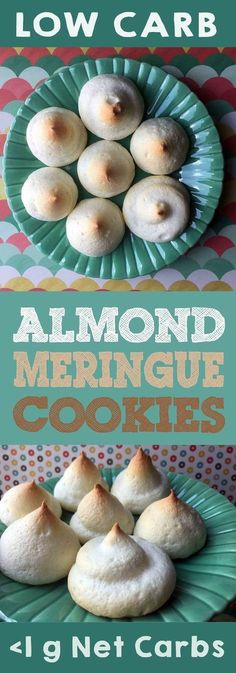 These low carb almond meringue cookies have less than 1 gram of carbohydrate. Way less than one actually. Each cookie has .03 g of net carbohydrate. Nearly nothing. These desserts are Keto, Banting, Atkins, THM-S, LCHF, Weight Watchers, Grain Free Gluten Free and Sugar Free compliant. #resolutioneats #lowcarb #keto #cookie #meringue