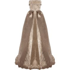 Alex Perry Haydn Lurex Strapless Gown ($2,940) ❤ liked on Polyvore featuring dresses, gowns, gold, brown evening gowns, fitted tops, brown dress, full length dresses and lurex dress