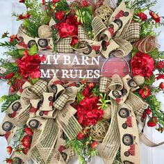 My Barn Brown, Burlap, and Red Neutral Spring and Summer Mesh Door Wreath