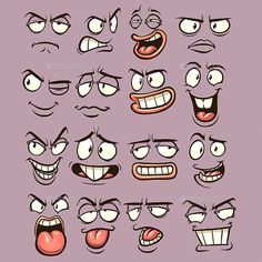 Buy Cartoon Faces by memoangeles on GraphicRiver. Cartoon faces with different expressions. Vector clip art illustration with simple gradients. Cartoon Faces Expressions, Funny Cartoon Faces, Cartoon Mouths, Cartoon Eyes, Drawing Expressions, Angry Cartoon, Human Face Drawing, Drawing Cartoon Faces, Realistic Eye Drawing