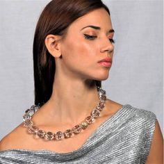Διάφανο κολιέ με λάβα Lava, Crystal Necklace, Chain, Crystals, Jewelry, Fashion, Moda, Jewlery, Jewerly
