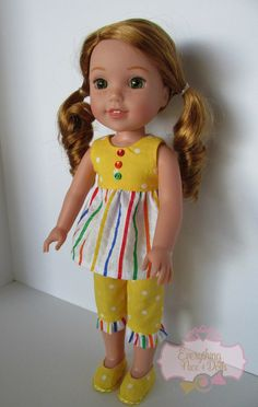 Yellow Polka Dot/ Multi Colored Striped Outfit, Includes Striped Ruffled Top, Capri Pants, Shoes, fits inch dolls like AG Wellie Wishers