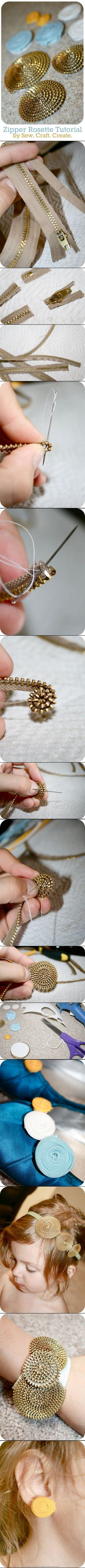 Zipper Rosette Tutorial #DIY #bracelet #headband #jewelry