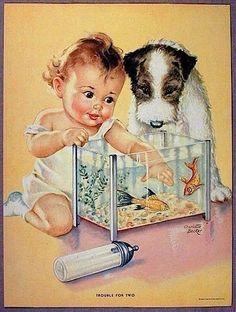 "Vintage Print by ""Charlotte Becker"" of Baby,Terrier Puppy, Bottle & Fish Bowl * Vintage Dog, Vintage Children, Vintage Prints, Vintage Cards, Vintage Postcards, Color Names Baby, Litho Print, Baby Art, Baby Kind"