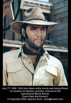 ♡♥Elvis with a beard smokes a cigar in his movie 'Charro' 1969♥♡