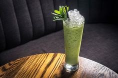 An ode to the classic Piña Colada, this Way of the Warrior cocktail welcomes earthy matcha tea and soothing vanilla to the mix. Photo by Paul Wagtouicz.