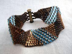 Peyote Beaded Bracelet  Bronze and by OceanPearlJewellery on Etsy, $24.99