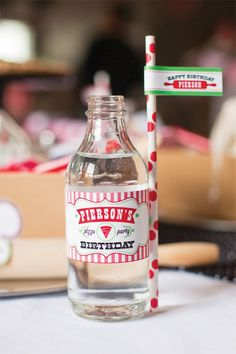 A Modern Italian Little Chef Pizza Party: Personalized water bottle