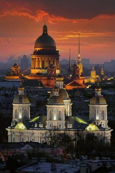 The golden-domed Saint Isaac's Cathedral dominates the city skyline - St. Petersburg, Russia  http://en.wikipedia.org/wiki/Saint_Petersburg (Thx Carolyn)