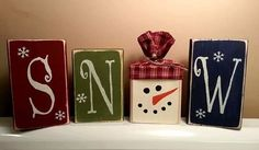 SNOW block set - hand painted This whimisical snowman block set warms the heart with Frostys cute little face representing the O in SNOW.This whimisical snowman block set warms the heart with Frostys cute little face representing the O in SNOW. Christmas Wood Crafts, Christmas Signs, Rustic Christmas, Christmas Projects, Winter Christmas, Holiday Crafts, Christmas Decorations, Christmas Ornaments, Christmas Snowman