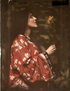 Alvin Langdon Coburn - 'Portrait of Elsie Toodles Thomas with yellow flower', 1908. Autochrome