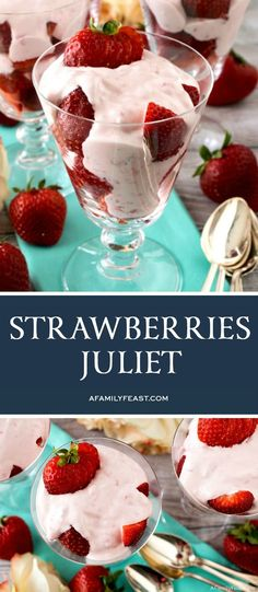 Strawberries Juliet is an easy, sweet, and creamy dessert that everyone will love! Great Desserts, Delicious Desserts, Dessert Recipes, Yummy Food, Strawberry Desserts, Desserts With Strawberries Easy, Easy Fruit Desserts, Strawberry Fluff, Strawberry Delight