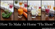 """Apple Cider Slammer, Green Machine, Cod Liver Kiss, Blueberry Blast, Carrot Kicker, Lemon Ginger Drop... these six super """"juice shot"""" free recipes contain all natural ingredients and ingredients to support the body not only in flu season but all year round..."""