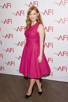 Jessica Chastain made a bold statement in a jewel-pink dress.