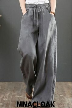 Cool Outfits, Casual Outfits, Fashion Outfits, Ethno Style, Pantalon Large, Linen Trousers, Diy Clothes, Comfy Clothes, Wide Leg Pants