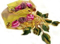 Nuno felt scarf 3D silk flowers grid leaf by allmadewithlove, $65.00
