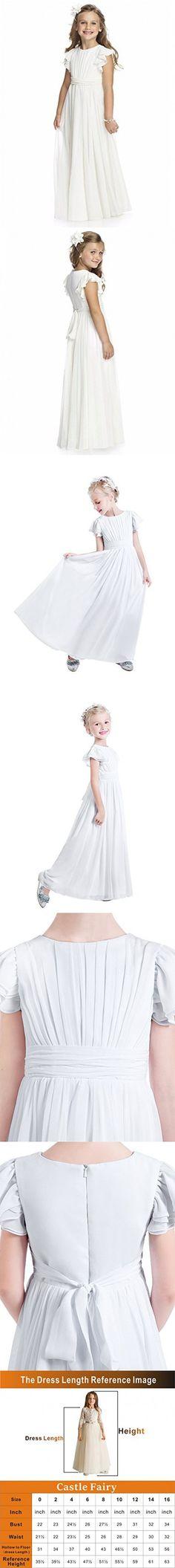 Castle Fairy Flower Girl Dress Chiffon Flutter Sleeve Holy Communion Dress Junior Bridesmaid Dress