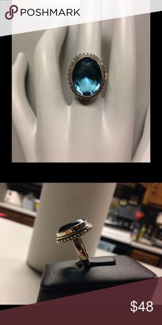 Blue Topaz Sterling Silver Ring Blue Topaz 925 Sterling Silver Ring Jewelry Rings