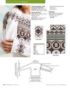 Irina: Jacquard pullover. PATTERNS. Fair Isle Knitting Patterns, Jumper Patterns, Knitting Stitches, Knit Patterns, Crochet Girls, Knit Crochet, Icelandic Sweaters, Creative Knitting, Hand Embroidery Videos