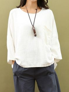 Casual Women Pure Color Blouse 3/4 Sleeve Loose Cotton Tops at Banggood