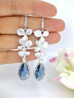 Montana Blue Teardrop Orchid Earrings Bridal Earrings Wedding Earring Orchid Earrings Cubic Zirconia Blue Earrings (E110)