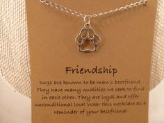 Dog Paw Necklace: Dog Paw Wish Necklace Dog by CraftsbyBrittany