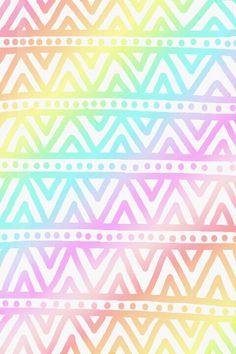 pastel rainbow aztec wallpaper ♥
