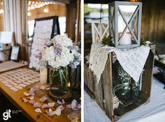 this is from our wedding!  wedding guest table decor country chic rustic lantern hygrangea lace