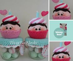 Risultati immagini per potes decorados com amigurumi Crochet Animal Amigurumi, Amigurumi Patterns, Crochet Animals, Crochet Patterns, Crochet Jar Covers, Crochet Cake, Kawaii Crochet, Crochet Kitchen, Jar Lids