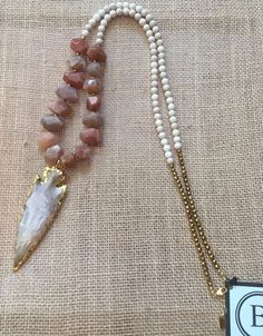 Betsy Pittard Cream and Agate with Electroplated Arrowhead