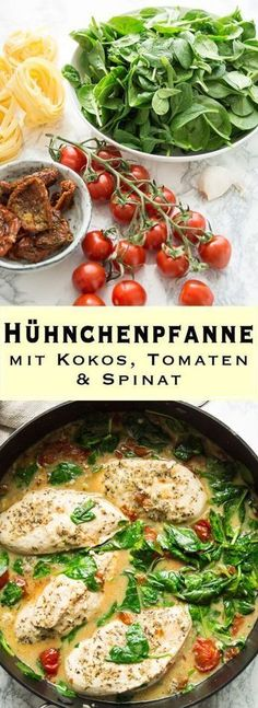 Spicy chicken stir-fry recipe with coconut, tomato and spinach- Würzige Hühnchenpfanne Rezept mit Kokos, Tomaten und Spinat Spicy chicken stir-fry recipe with coconut, tomato and spinach # Chicken pan - Spicy Chicken Recipes, Spinach Recipes, Coconut Recipes, Seafood Recipes, Paleo Recipes, Quick Recipes, Dinner Recipes, Le Diner, Spinach Stuffed Chicken