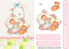 Fabric effect card front / topper featuring a beautiful image of a baby girl in her crib. Includes decoupage and a choice of sentiments. The sentiments read: Baby Girl!, Beautiful Girl!, Beautiful Granddaughter. I have also included a blank sentiment box for your own text.