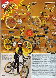 """Early days - above and below, a two page advertisement featured in """"Look-In"""" magazine, THE RACE IS ON BMX is the bike. Vintage Bmx Bikes, Old Bikes, Retro Bikes, Velo Biking, Raleigh Burner, Bmx Bandits, Kids Mode, Raleigh Bikes, Bmx Racing"""