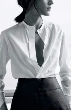 Button up that collarless shirt and you're good to go for a classic work look #workwear #style #fashion