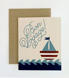 ID: 015 Bon Voyage Card  Description: 4¼ x 5½ , Blank folded card Printed full color on 110lb white felt stock Individually branded and packed with envelope  Packaged individually. Need more than the quantity listed? Convo or email for availability hello[at]oliveandjude.com  Design copyright Olive + Jude