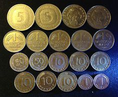 Lot of unsorted Deutsche Mark and Pfennig from 1950 to 1995