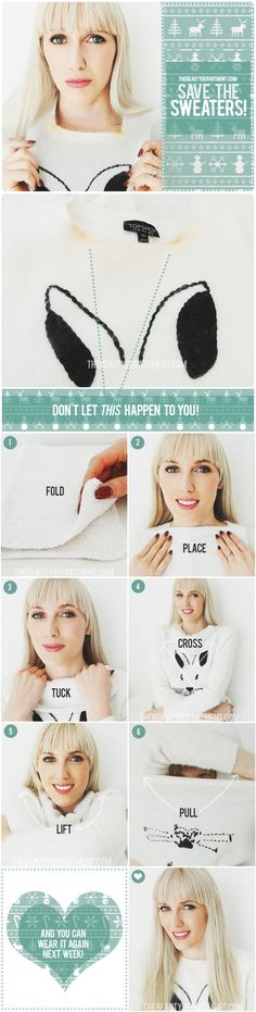 tbd-save-the-sweaters...how to prevent getting makeup on the collar when taking a sweater off, genius!